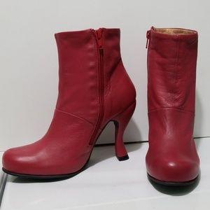 John Fluevog Red Soft Leather Heel Boots Size 7